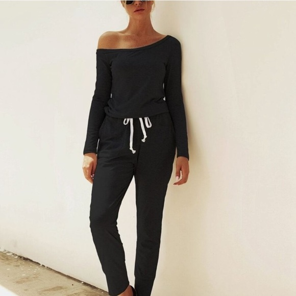 Shein slouchy one shoulder cozy jogger jumpsuit